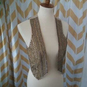 Cache Size 2 Beige Ornate Gold Studded vest